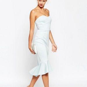 ASOS strapless pephem scuba form fitting dress